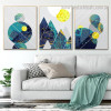 Abstract Trigons Geometric Vintage Nordic Framed Artwork Picture Canvas Print for Room Wall Garnish