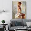 Half Nude Girl Elegant Watercolor Painting Print, Living Room Decor