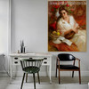 Guitarist Girl with Pretty White Dress Painting Print for Living Room Decor