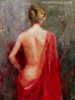 Stern Bare Girl with Red Colour Dress Painting Canvas Print