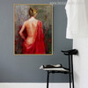 Stern Bare Girl with Red Colour Dress Painting Canvas Print for Wall Decor