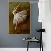 Ballerina Dancer Dance in White Dress Painting Canvas Print for Room Decor