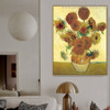 Sunflowers Van Gogh Reproduction Framed Painting Photo Canvas Print for Room Wall Decor
