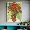 Vase with Marguerites Van Gogh Reproduction Framed Painting Image Canvas Print for Room Wall Garnish