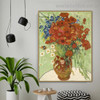 Vase with Marguerites Van Gogh Reproduction Framed Painting Image Canvas Print for Room Wall Decoration
