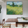 Field with Cypress Van Gogh Botanical Reproduction Framed Painting Picture Canvas Print for Room Wall Adornment