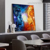 Shiv and Shakti Religious Modern Framed Artwork Picture Canvas Print for Room Wall Garniture