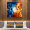 Shiv and Shakti Religious Modern Framed Artwork Picture Canvas Print for Room Wall Adornment