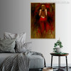 Bare Girl Waist in Red Colour Half-Naked Dress Canvas Artwork