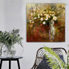 Varicoloured Flowerpot Abstract Botanical Impressionist Framed Artwork Image Canvas Print for Room Wall Finery