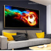 Soccer Ball Fire Abstract Modern Framed Artwork Pic Canvas Print for Room Wall Finery