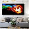 Soccer Ball Fire Abstract Modern Framed Artwork Pic Canvas Print for Room Wall Molding