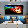 Soccer Ball Fire Abstract Modern Framed Artwork Pic Canvas Print for Room Wall Adornment