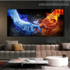Ice Fire Abstract Modern Framed Portraiture Photo Canvas Print for Room Wall Garnish