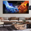 Ice Fire Abstract Modern Framed Portraiture Photo Canvas Print for Room Wall Disposition