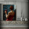 Drinking Girl Delightful Watercolor Painting Print for Living Room