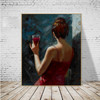 Drinking Girl Delightful Watercolor Painting Print for Wall Decor