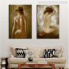 Stark Naked Girls Watercolor Painting Print for Living Wall Decor
