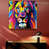 Particoloured Lion Animal Watercolor Framed Artwork Picture Canvas Print for Room Wall Getup