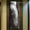 Long Feather Abstract Modern Framed Smudge Photo Canvas Print for Room Wall Getup