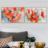 Abstract Watercolor Red Poppies Painting Print for Wall Art