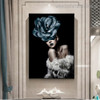 Cyan Bloom Visage Abstract Modern Framed Painting Image Canvas Print for Room Wall Garnish