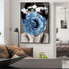 Blue Rose Girl Abstract Modern Framed Painting Image Canvas Print for Room Wall Adornment