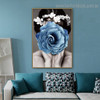 Blue Rose Girl Abstract Modern Framed Painting Image Canvas Print for Room Wall Molding