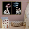 Rose Women Abstract Modern Framed Painting Portrait Canvas Print for Room Wall Moulding
