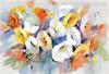 Hued Poppies Abstract Watercolor Painting Print