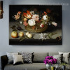 Basket of Flowers Reproduction Framed Painting Picture Canvas Print for Room Wall Moulding