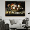 Basket of Flowers Reproduction Framed Painting Picture Canvas Print for Room Wall Ornamentation