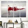 Red Splash Girl Figure Framed Smudge Image Canvas Print for Room Wall Moulding