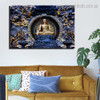 Grand Buddha Religious Modern Framed Smudge Image Canvas Print for Room Wall Finery