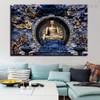 Grand Buddha Religious Modern Framed Smudge Image Canvas Print for Room Wall Flourish