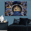 Grand Buddha Religious Modern Framed Smudge Image Canvas Print for Room Wall Garnish