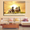 Running Mares Animal Nature Framed Painting Photo Canvas Print for Room Wall Decor
