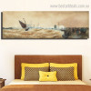 Sailing Seascape Abstract Modern Framed Painting Picture Canvas Print for Room Wall Outfit