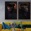 Black Chimpanzees Animal Funny Framed Smudge Portrait Canvas Print for Room Wall Drape
