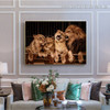 Lion Couple Animal Modern Framed Painting Photo Canvas Print for Room Wall Adornment
