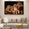 Lion Couple Animal Modern Framed Painting Photo Canvas Print for Room Wall Decoration