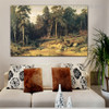 Pine Forest Nature Reproduction Framed Painting Picture Canvas Print for Room Wall Adornment