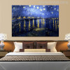 Starry Night Over Rhone Painting Print for Bedroom Wall Decor