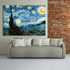 Starry Night Painting Canvas Print for Living Room Decor