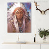 Native Indian Feathered Portrait Painting Print