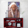 Native Indian Feathered Portrait Painting Print for Living Room Wall Decor