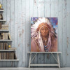 Native Indian Feathered Portrait Painting Print for Wall Hanging