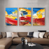 Multicoloured Streaks Abstract Impressionist Framed Painting Portrait Canvas Print for Room Wall Decor