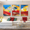 Multicoloured Streaks Abstract Impressionist Framed Painting Portrait Canvas Print for Room Wall Assortment