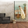 Admiring the Goldfish Reproduction Vintage Framed Artwork Portrait Canvas Print for Room Wall Molding